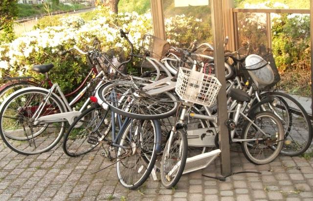 散乱した自転車